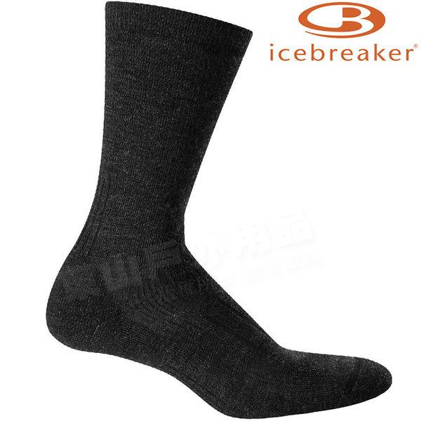 Icebreaker 101289-001深灰 男中筒中毛圈健走襪Hike 美麗諾羊毛襪