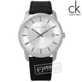 CK / K5S311C6 / 典藏品味日期皮革手錶 銀x黑 41mm