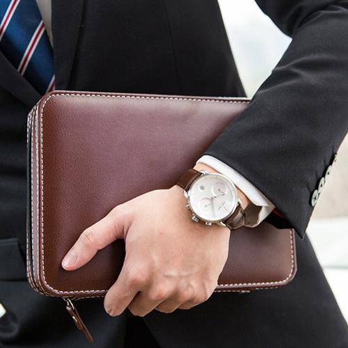 Nordgreen 42mm 深棕真皮錶帶 Pioneer先鋒 北歐設計師手錶 藍寶石鏡面 計時碼錶 月光銀殼 皓白錶盤
