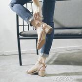 粗跟涼鞋 一字帶中跟仙女涼鞋女夏季韓版百搭韓版粗跟羅馬學生 coco衣巷