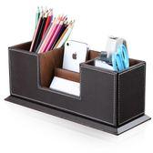 多功能時尚創意雙筆筒名片座桌面商務辦公用品正韓文具收納盒全館免運