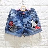 ☆棒棒糖童裝☆(B192052)夏女大童鬆緊腰貼布小狗款牛仔短褲 120-165