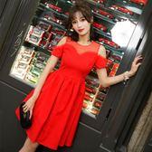 (工廠直銷不退換)9956#連身裙新款中長款法式高腰顯瘦山本初戀公主裙G-326-B韓依戀