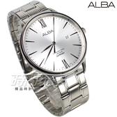 ALBA 雅柏錶 羅馬 韓風 日期顯示窗 防水錶 藍寶石水晶玻璃 不銹鋼帶 白色 男錶 AS9E95X1 VJ42-X238S