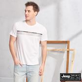 【JEEP】簡約圖騰吸濕排汗短袖TEE(白色)