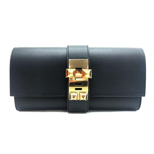 【台中米蘭站】全新品 HERMES Medor Sanguine CDC皮革金色鉚釘穿式手拿包(深藍)