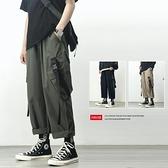 抽繩工裝褲男寬鬆直筒潮牌學生束腳夏季薄款墜感機能冰絲九分褲子 米娜小鋪