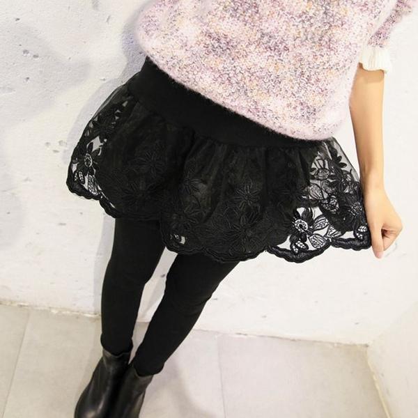 秋冬新品黑色女士歐根紗繡花蕾絲高腰假兩件褲裙外穿大碼打底褲潮1入