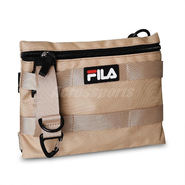 Fila 斜背包 Workwear Shoulder Bag 卡其 白 男女款 奶茶色 工裝 側背包 運動休閒【ACS】 BMV3007KK