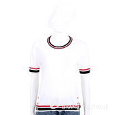 EDWARD ACHOUR PARIS 撞色邊設計白色坑條針織衫 1920277-20
