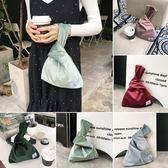 購物袋日式和風絨面布包便攜小包手腕袋遛狗遛彎裝手機鑰匙零錢包購物袋