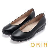 ORIN 簡約氣質風 嚴選牛皮素面厚底娃娃鞋-黑色