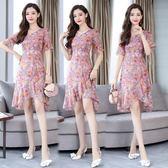 短袖洋裝 連身裙 碎花雪紡女修身氣質顯瘦中長版V領荷葉邊裙子-巴黎時尚