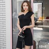 夜店洋裝夏季新款網紅時尚性感斜領露肩不規則包臀裙純色連身裙潮 CJ909 『易購3c館』