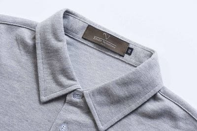 Emilio Valentino范倫鐵諾經典配色條紋厚料棉POLO衫 (灰)