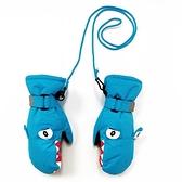 兒童滑雪手套冬季寶寶男女童戶外保暖防風防水防寒可愛帶防丟掛繩 怦然心動