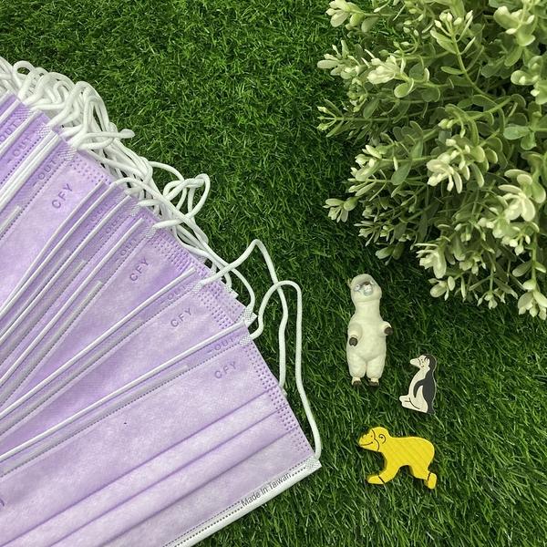 [雙鋼印] 彩色口罩(紫色)平面醫療口罩50入*1[美十樂藥妝保健]