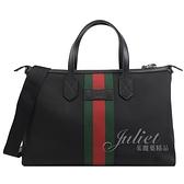 茱麗葉精品【全新現貨】GUCCI 619750 綠紅綠織帶帆布帶鎖兩用旅行包.黑