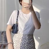 棉麻T恤 竹節棉t恤女 短袖寬鬆正韓體恤純棉圓領白色上衣純色棉麻打底-Ballet朵朵