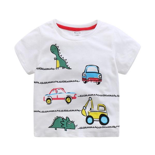 男童恐龍汽車印花圓領上衣  橘魔法Baby magic  現貨 童裝 短袖上衣