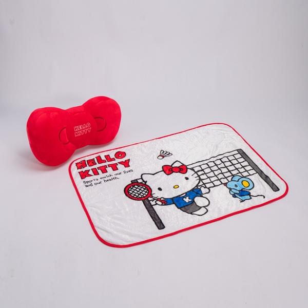 Hello Kitty 蝴蝶結抱枕蓋毯組-生活工場