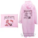 〔小禮堂〕Hello Kitty 成人雨衣《粉.蝴蝶結.側姿》附專屬收納提袋 4710591-65460