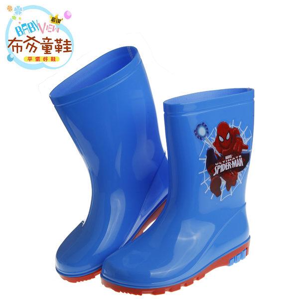 《布布童鞋》Marvel英雄系列蜘蛛人藍色兒童防滑雨鞋(17~22公分) [ BMZ906B ] 藍色款