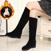 中筒靴女平底春秋單靴休閑女靴子高筒騎士靴冬季加絨內增高女鞋潮