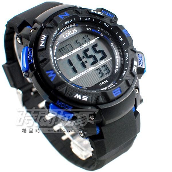 Lotus 時尚錶 大錶面 潮流時尚 電子錶 男錶 運動錶 TP1326M-02黑藍