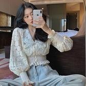 長袖上衣 早秋新款法式v領蕾絲繡花泡泡長袖襯衫女設計感小眾短款收腰上衣 韓國時尚週