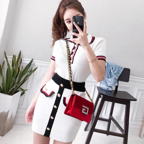 VK精品服飾 韓系小香風氣質針織包臀套裝短袖裙裝