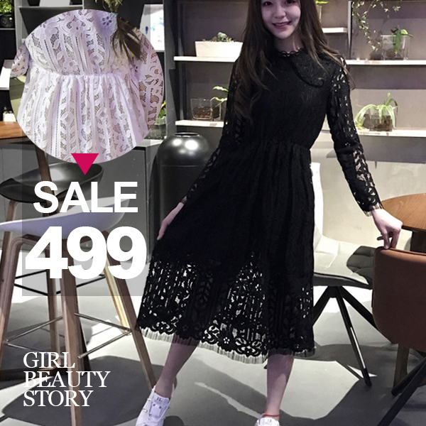 SISI【D7028】蕾絲雕花立領長袖鏤空蕾絲縮腰修身顯瘦中長款連身裙洋裝