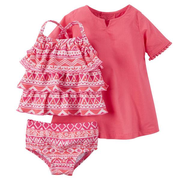 【美國Carter's】泳裝組 - 夏日摩洛哥風情泳裝+罩衫三件組 127G128