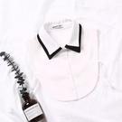 假領子襯衫穿搭假領片韓版假衣領 雪紡紗配色尖領  罩衫洋裝針織大學T外套內搭黑白色 [E1314] 預購