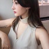 雪紡背心-性感優雅掛脖氣質女無袖上衣73fw17【巴黎精品】