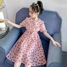 洋裝 女童波點洋裝連衣裙夏裝新款韓版兒童夏季裙子女大童洋氣雪紡裙潮 快速出貨