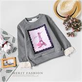 中大童 純棉 玫瑰巴黎鐵塔珍珠刷毛蕾絲袖上衣 保暖 厚款 內刷毛 姊妹裝 長袖 女大童 哎北比童裝