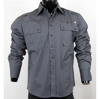 『摩達客』美國進口【Born Sinners】 SP風尚銀灰長袖設計襯衫(10212071002)
