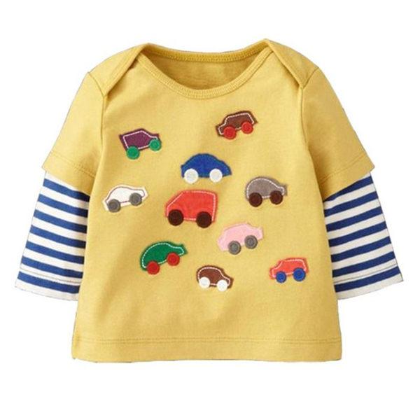 男Baby男童長袖T恤可愛黃色貼布汽車組純棉上衣出口歐美品質現貨