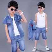 男童套裝 夏裝2018新款韓版兒童牛仔短袖小男孩衣服夏季三件套 GB1304『優童屋』