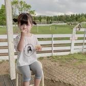 藍小爸2019新款女童打底褲夏季薄款女寶寶洋氣撞色邊條七分中褲 嬌糖小屋