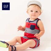 Gap男嬰兒 柔軟條紋無袖一件式包屁衣 464830-海軍淺藍