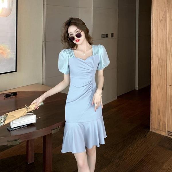小洋裝 連身裙法式超仙復古褶皺連身裙夏季小眾氣質開叉修身不規則T624快時尚