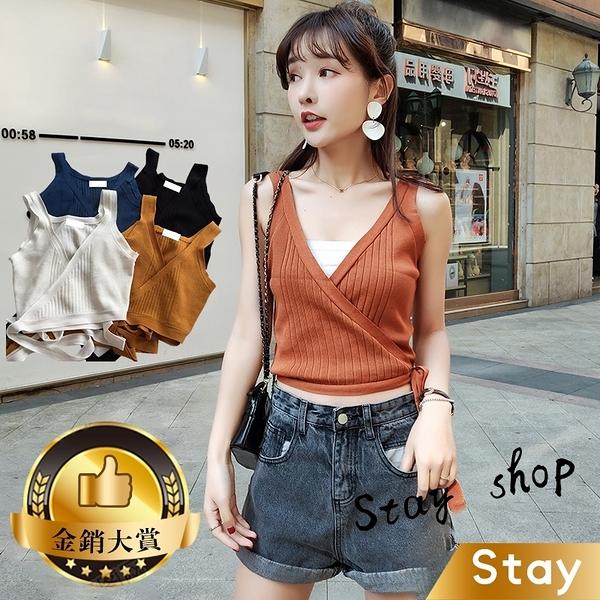 【Stay】網紅同款韓版側邊綁帶針織背心 小可愛 素T 素色 T恤 寬鬆上衣 短袖上衣 女裝【V75】
