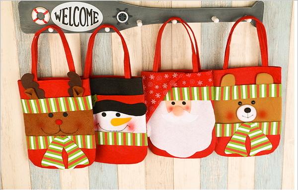 聖誕節裝飾用品無紡布小手提袋聖誕裝飾品節日禮品聖誕老人禮物袋(隨機出貨)─預購CH2526