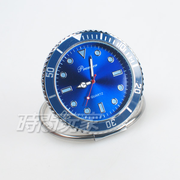 premier 水鬼造型 迷你小桌鐘 創意桌面小時鐘 數字時刻 擺飾 夜光時刻 P1142藍