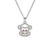 項鍊 925純銀鑲鑽吊墜-嘻哈猴子生日情人節禮物女飾品73dk369【時尚巴黎】