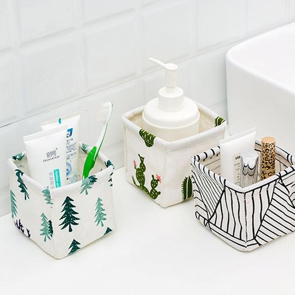 【BlueCat】森林浴植物線條系列 綿麻 桌面收納盒