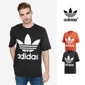 【GT】Adidas Originals 黑橘 短袖T恤 運動 休閒 純棉 寬鬆 落肩 短T 愛迪達 基本款 經典款 大Logo
