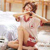 月子服 孕婦睡衣女慵懶風夏季薄款短袖孕婦月子服產后家居服套裝 DJ9563【宅男時代城】